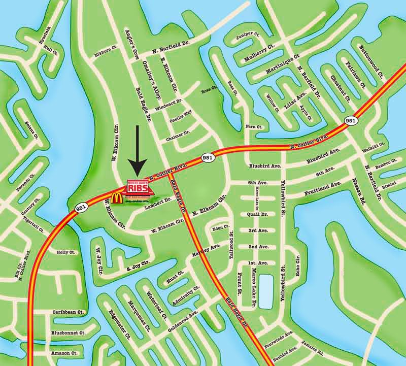 Map to Michelbob\'s Takeout - Marco Island, Florida